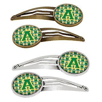 Lettera di un calcio verde e oro Set di 4 mollette capelli clip