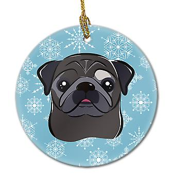 Carolines Treasures  BB1697CO1 Snowflake Black Pug Ceramic Ornament