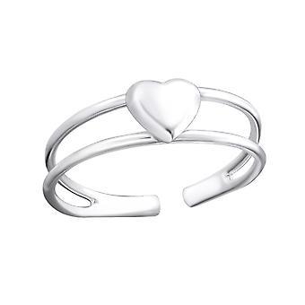 3d Heart - 925 Sterling Silver Toe Rings - W19402x