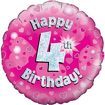 Oaktree 18 Inch Happy 4th Birthday Pink Holographic Balloon
