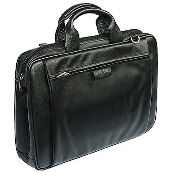 Cuero bolso de la cartera de negocios con organizador señoras correa de hombro trabajo caja (negro)
