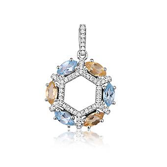 Silver pendant adorned with 72 Swarovski Crystals Zirconia White, Yellow and Blue 3983