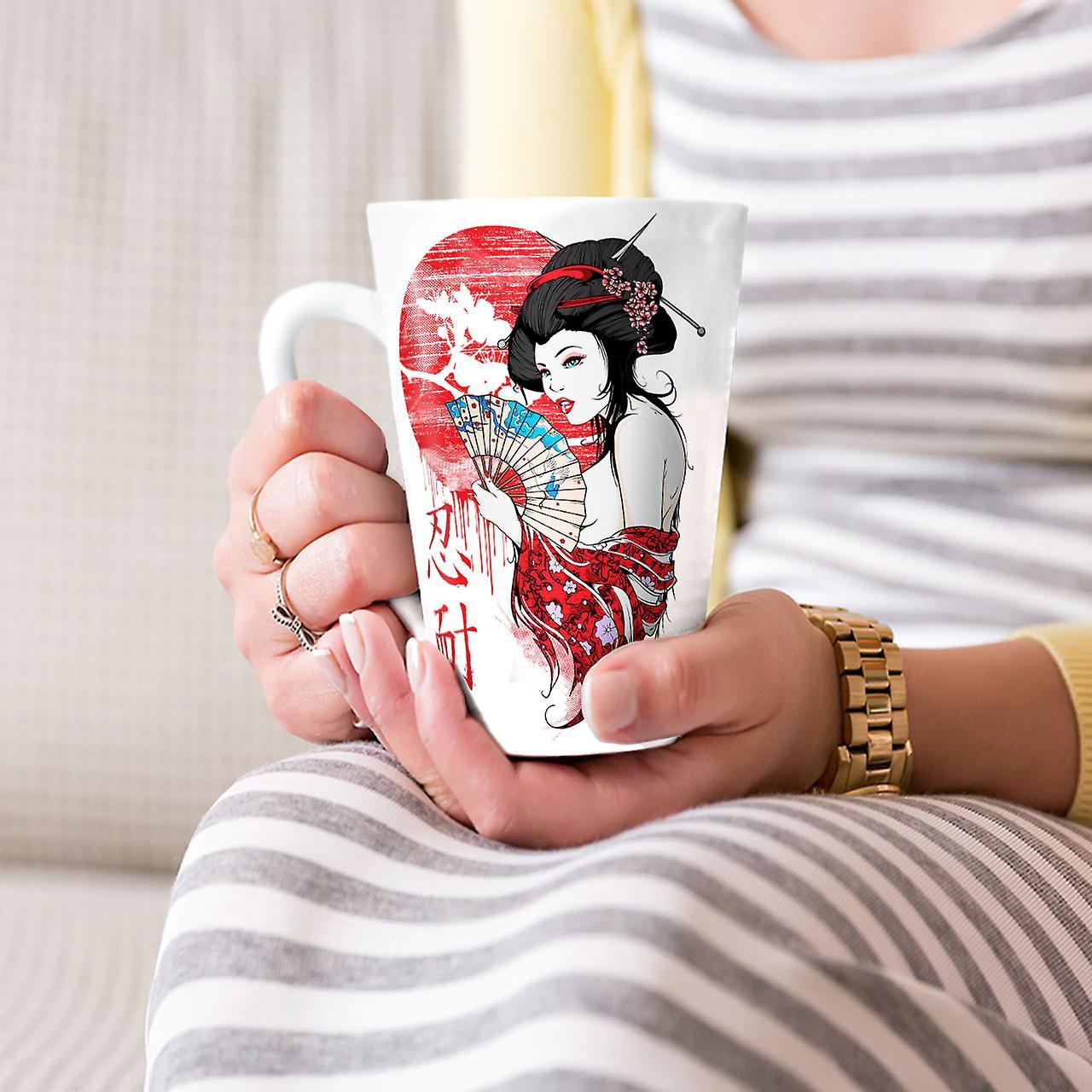 Japanische Verführer neuer weißer Tee Kaffee Keramik Latte Becher 17 oz | Wellcoda