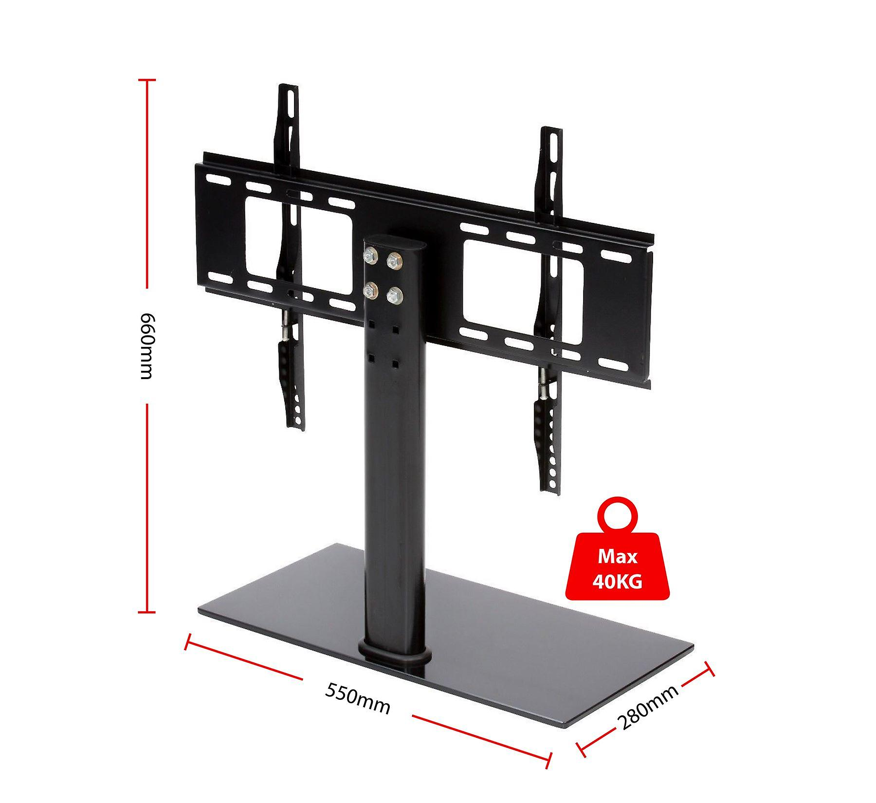 TV Table Top Stand with Glass Base, Height Adjustable Setting Pedestal Bracket LCD/LED for 37 Inch to 55 Inch, Black, 28 x 55 x 66 cm