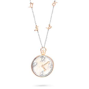 Orphelia Silver 925  Necklace Bicolor Big Clock With Numbers Mop  ZK-7174