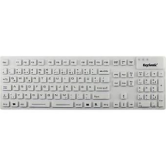 Keysonic KSK-8030 IN (DE) USB Keyboard German, QWERTZ, Windows® White Sealed silicone cover, Water-proof (IPX7)