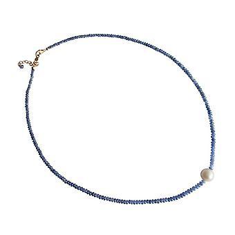 Halvedelstener halskjede Pearl safir og 9 mm perlekjede gullbelagt