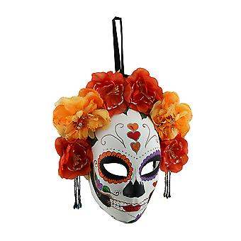 Red and Orange Day of the Dead Sugar Skull Mask w/Floral Crown