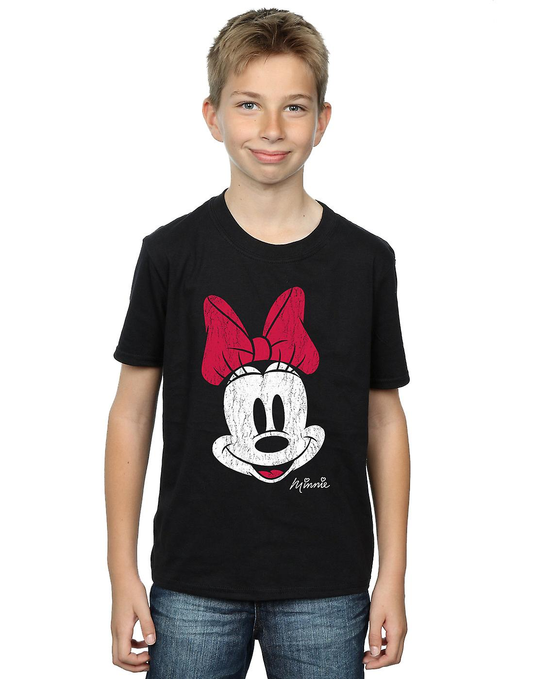 Disney Boys Minnie Mouse Distressed Face T-Shirt