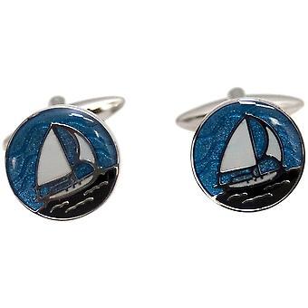 Zennor runda båt manschettknappar - blå/Silver/vit