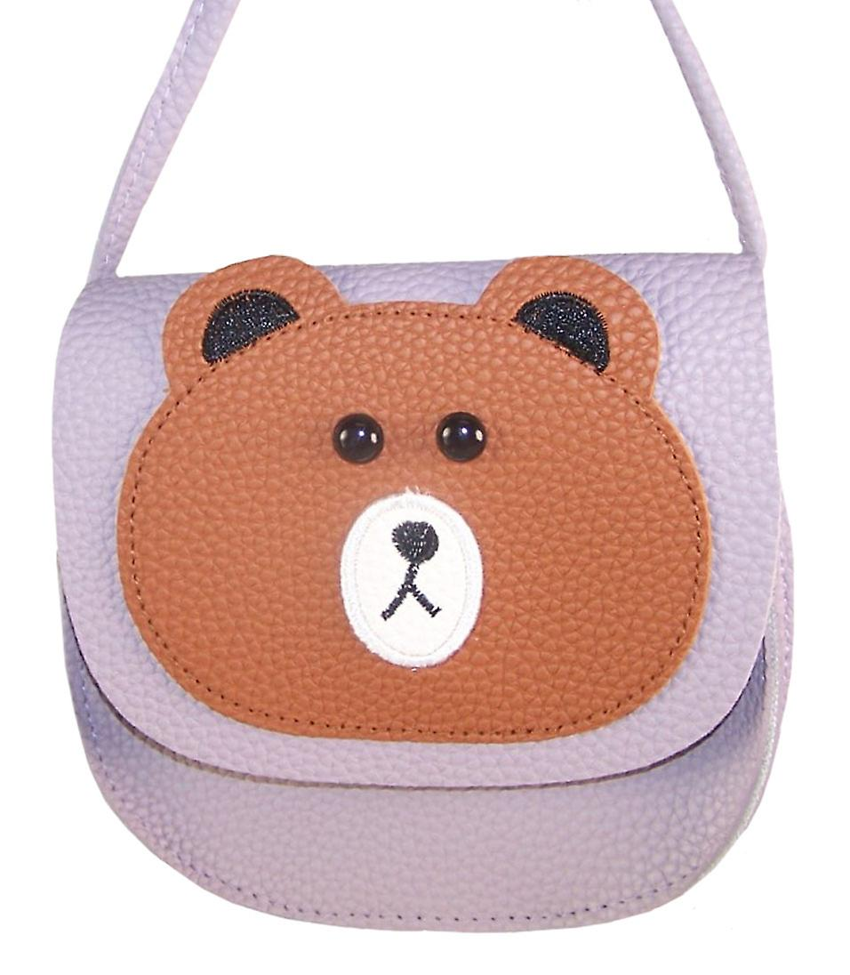 Girls over the body lilac saddle bag with teddy face