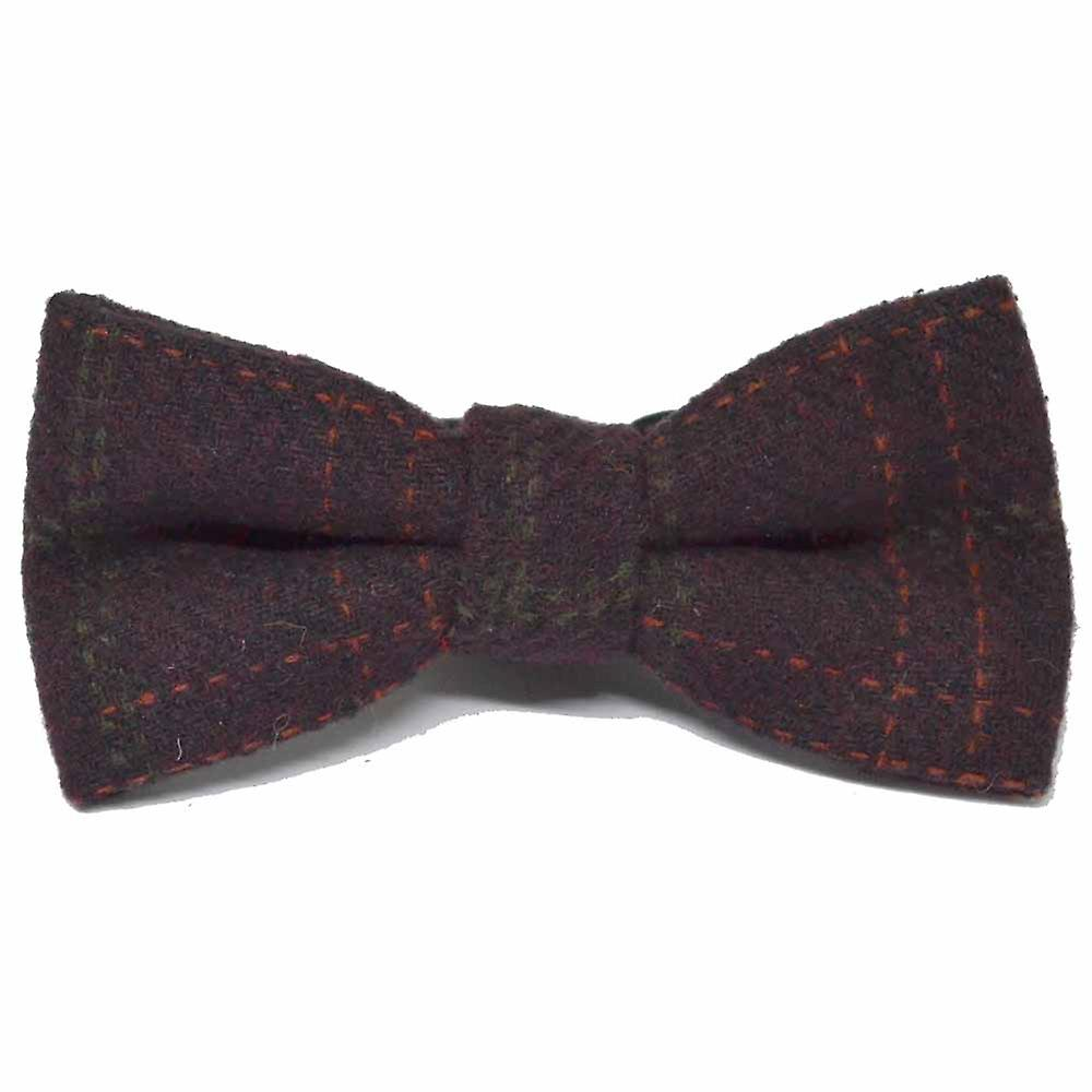 Heritage Check Wine, Burgundy, Deep Red, Bow Tie & Pocket Square Set - Tweed, Plaid