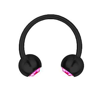 Cirkulär Barbell Piercing svart Titan 1, 2mm, SWAROVSKI ELEMENTS rosa | 6-12mm