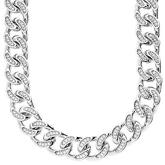Iced out bling micro pave Gourmette - CZ cubain 15 mm argent