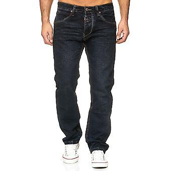 Pantalones vaqueros pantalones del dril de algodón pantalones de los hombres floja clásico utilizado lavan cintura Regular