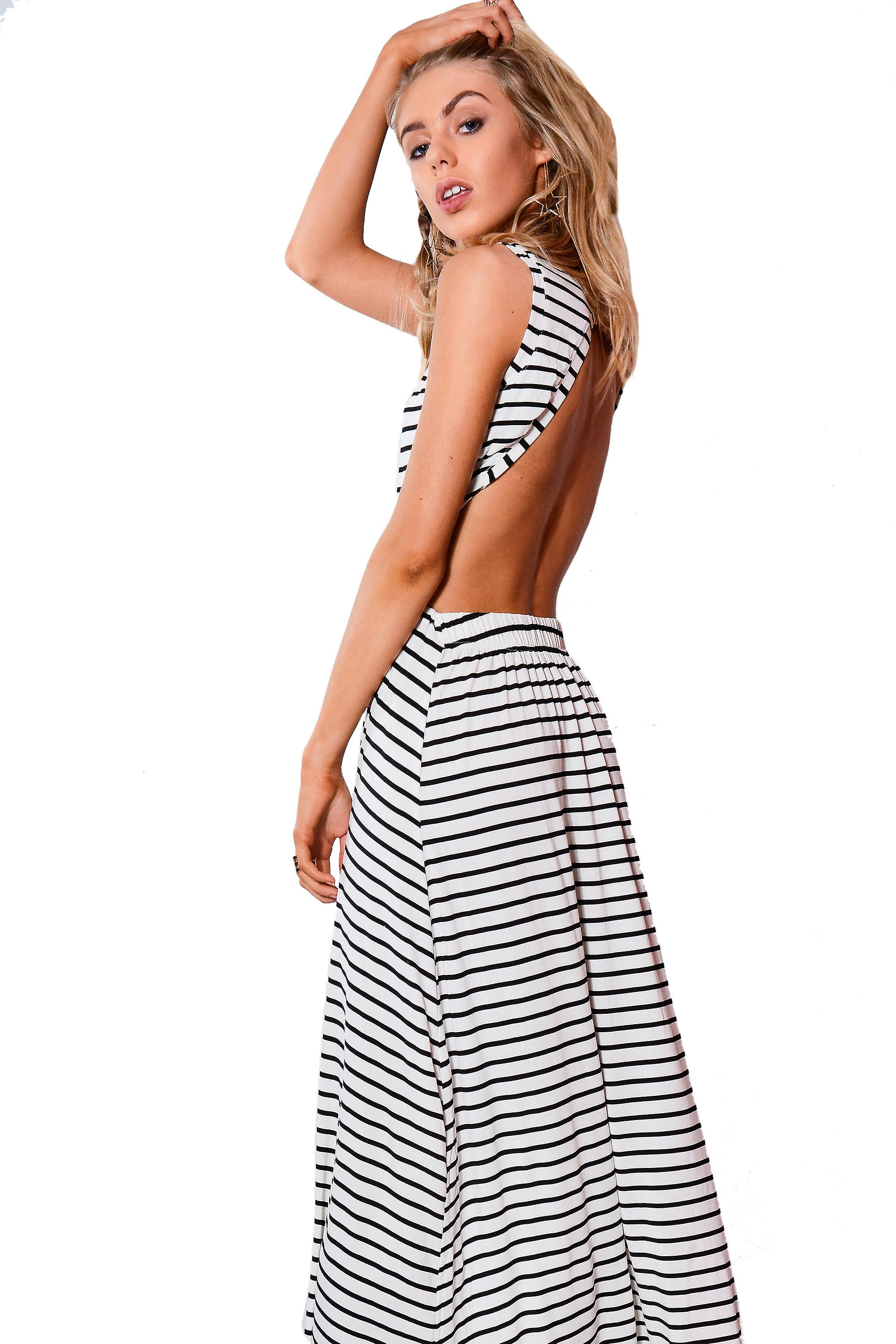 Lovemystyle Black And White Stripe Backless Maxi Dress