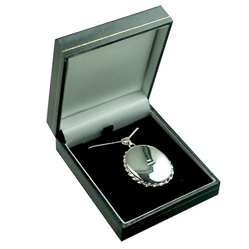 Silver 37x28mm hand engraved twisted wire edge oval Locket with a curb Chain 24 inches