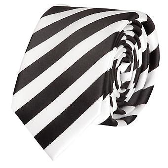 Cravatta cravatta cravatta cravatta 6cm nero rigato bianco Fabio Farini