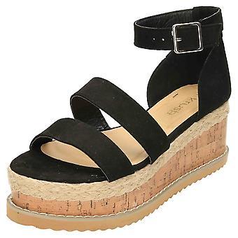Krush Black Wedge Heel Platform Sandals Ankle Strap Flatform
