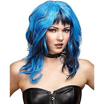 Harde Rockin heks Peruke Black Blue