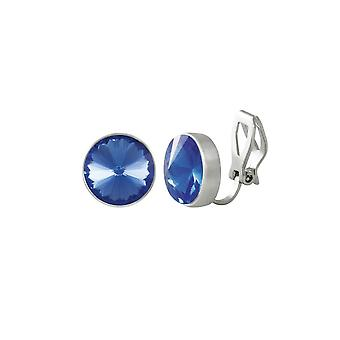 Eternal Collection Treasure Sapphire Blue Crystal Silver Tone Stud Clip On Earrings