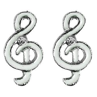 Treble Clef Stud Earrings with Enamel