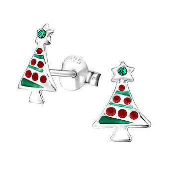 Crystal Christmas Tree Sterling Silver Stud Earrings