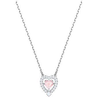 Swarovski Sparkling Dance Heart Necklace - Pink - Rhodium Plating