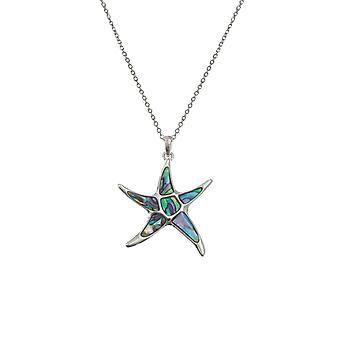 Ikuinen kokoelma Starfish paua Shell Silver Tone riipus kaula koru