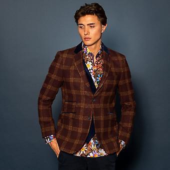 CLAUDIO LUGLI Check Tweed Jacket & Velvet Lappel