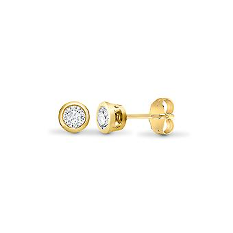 Jewelco London Ladies Solid 18ct Yellow Gold Rub Over Set Round G SI1 0.35ct Diamond Solitaire Stud Earrings