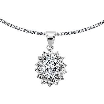Jewelco London Ladies Rhodium Plated Sterling Silver White Oval Cubic Zirconia Royal Cluster Pendant Necklace 18 inch