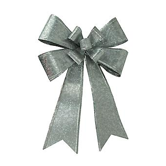 Galvanized Metal Double Bow Christmas Holiday Wall Decor Large
