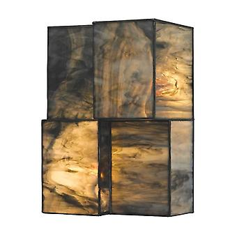 Cubist 2-light sconce in brushed nickel with dusk sky tiffany glass - includes led bulbs elk lighting