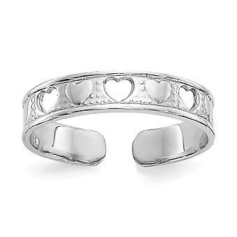 14k ouro branco polido com amor hearts toe ring joias para mulheres - .8 Gramas