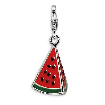 925 Sterling Silver Rhodium plated Fancy Lobster Closure 3 D Enameled Watermelon Wedge With Lobster Clasp Charm Pendant