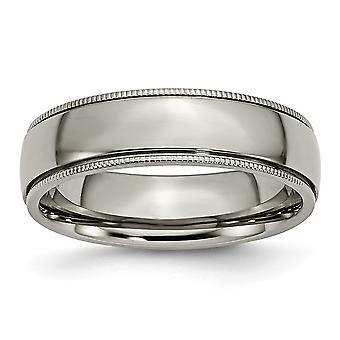 Titan gravierbare Grooved Perlen 6mm poliert Band Ring Schmuck Geschenke für Frauen - Ring Größe: 6 bis 13