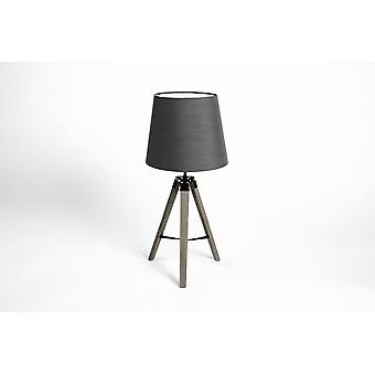 LIFA LIVING Elegant table lamp in vintage style, E27, floor lamp for wooden, steel and plastic desk, shade anthracite grey, height 58 cm