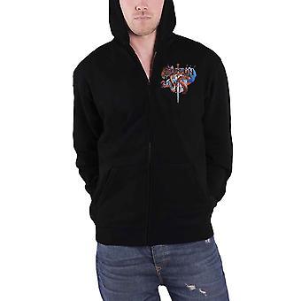 Saxon Hoodie Crusader Band Logo British Metal new Official Mens Black Zipped