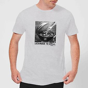 Plain Lazy Licence To Grill Men's T-Shirt - Grey