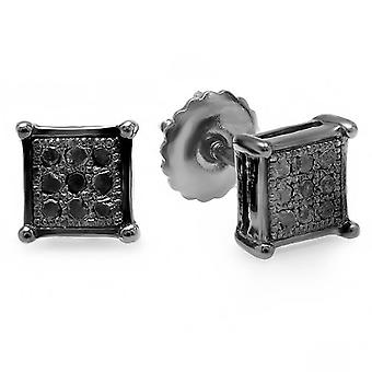 Dazzlingrock Collection 0.05 Carat (ctw) Black Rhodium Plaqué Black Diamond Square Shape Men-apos;s Stud Earrings, Sterling Silver