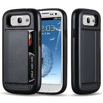 Custodia Cadorabo per Samsung Galaxy S3 / S3 NEO - Custodia in ARMOR BLACK - Custodia del telefono con custodia per scheda - Custodia rigida TPU Silicone Protective Case for Hybrid Cover in Outdoor Heavy Duty Design