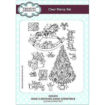 Creative Expressions Have a Rocking Good Christmas A5 Clear Stamp Set