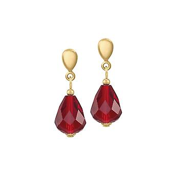 Eternal Collection Sophistication Ruby Red Crystal Gold Tone Drop Boucles d'oreilles percées