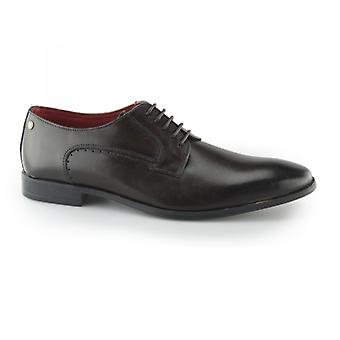 Base London Penny Mens Leather Derby Lace Ups Dark Brown