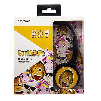 Groov-e EarMoji's Stereo Headphones - Cheeky Monkey (Model No. GVEMJ19)