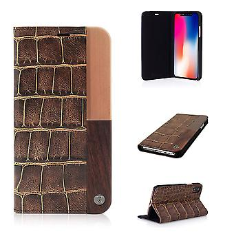 iPhone X Case 50:50 Luxe Croc Folio Hard Shell