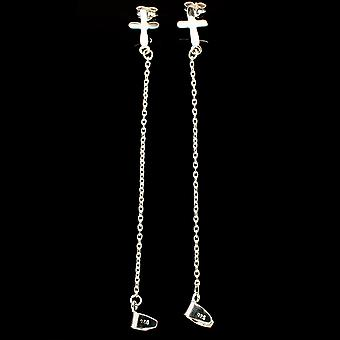 "Cross 925 Sterling Silver Earrings 4"" (925 Sterling Silver)  - Handmade Boho Vintage Jewelry EARR392910"
