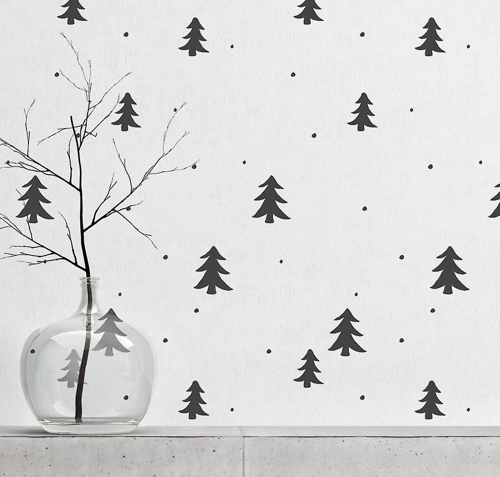 Pine forest & snow repeat wall stencil