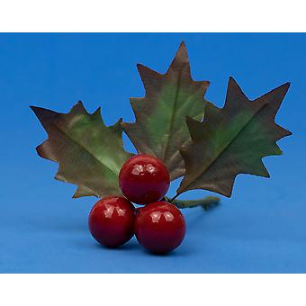 12 Christmas Picks with 3 Holly Leaves & Berries